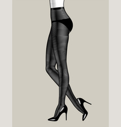 legs standing woman in black pantyhose vector image
