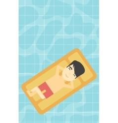 Man relaxing in swimming pool vector