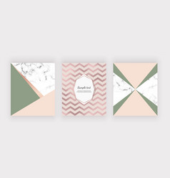 marble geometric design with pink and green triang vector image