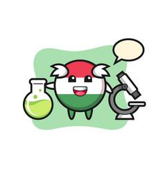 Mascot character hungary flag badge as a vector
