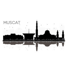 muscat city skyline black and white silhouette vector image