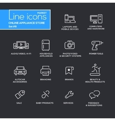 Online appliance store line design pictograms set vector