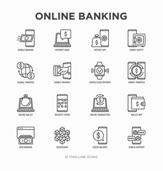 Online banking thin line icons set vector