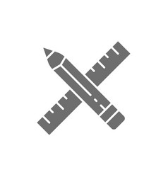 pencil and ruler project art line icon vector image