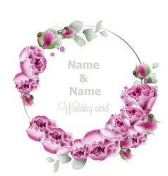 peony wedding wreath watercolor birthday women vector image