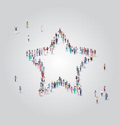 people crowd gathering in star shape social media vector image