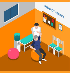 Physiotherapy rehabilitation isometric poster vector