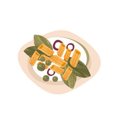 Plate tasty macaroni pasta with greens onion vector