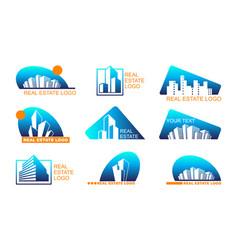 Real estate logo set abstract creative building vector