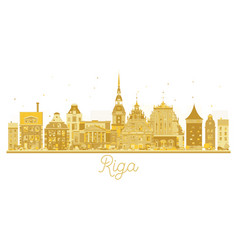 riga latvia city skyline golden silhouette vector image
