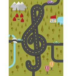 Road in the shape of treble clef vector image