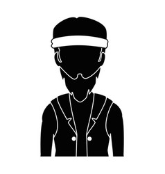 Rough motorcyclist with bandana avatar character vector
