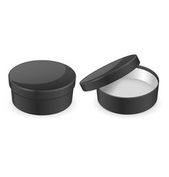 round black hat box open and closed empty carton vector image