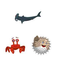 sea and animal sign set of vector image