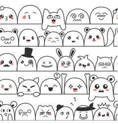 Seamless pattern with cute lovely kawaii monsters vector