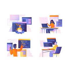 Set diverse programmers or coders vector