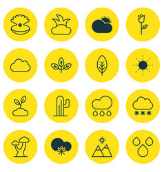 Set of 16 ecology icons includes oak sprout vector