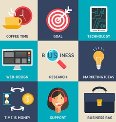Set of Flat Design Business Icons Coffee Time Goal vector