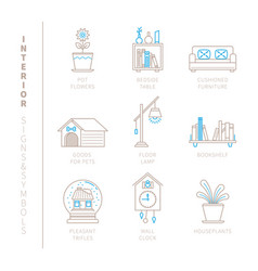 set of interior icons and concepts in mono thin vector image