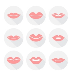 Set of mouth smile red sexy woman lips in flat vector image