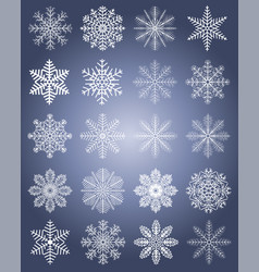 set of snowflakes for christmas and happy new vector image