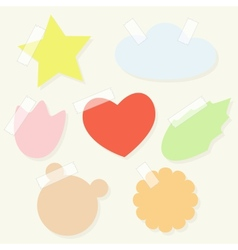 Set paper stickers with tape for scrapbooking vector