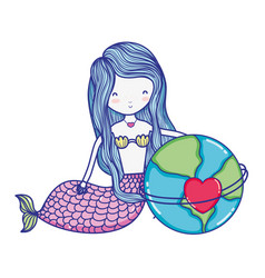 Siren woman and global planet with heart vector