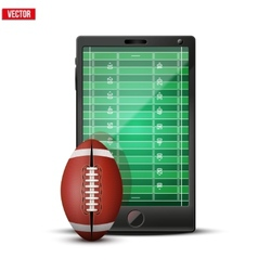 Smartphone with american football ball and field vector