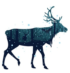 Snowy Winter Forest with Deer3 vector