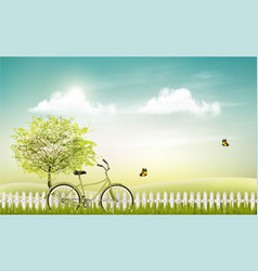 Spring nature meadow landscape with a bicycle vector