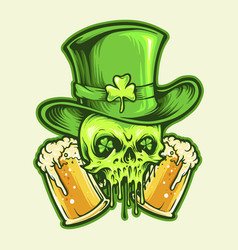 st patrick skull with two glasses beer vector image
