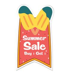 Summer sale buy 1 get 1 ribbon ice cream backgroun vector