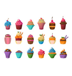 Sweet cupcakes big set creamy pastries decorated vector