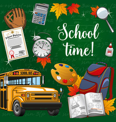 time to school lettering stationery supplies bus vector image