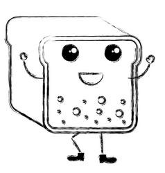 Toast bread kawaii character vector