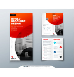 Tri fold brochure design red business template vector