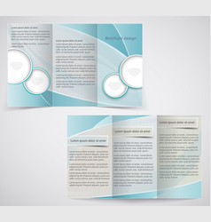 tri-fold business brochure template blue design vector image