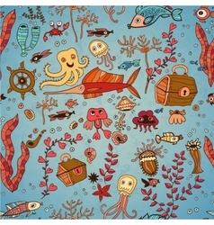 Underwater seamless pattern of sea life elements vector