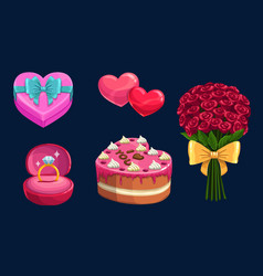 Valentines day love holiday gifts hearts cake vector