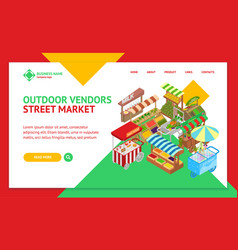 vendor food street signs 3d landing web page vector image