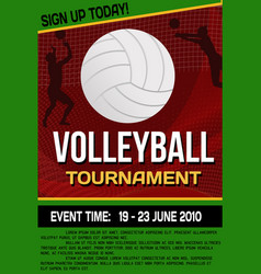 Volleyball tournament flyer or poster vector
