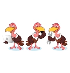 Vulture mascot with phone vector