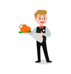 waiter wearing the uniform holding a dish of vector image