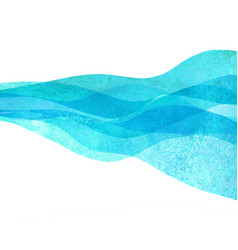 Watercolor transparent wave sea ocean teal vector