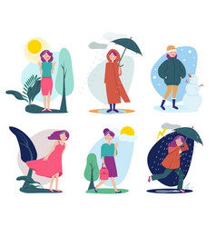 woman weather seasonal people walking vector image