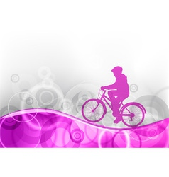 Young girl on the bicycle vector