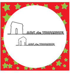 arc de triomphe paris outline vector image
