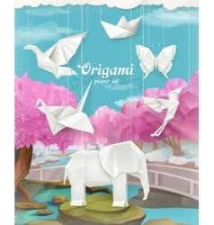 Origami paper set vector image