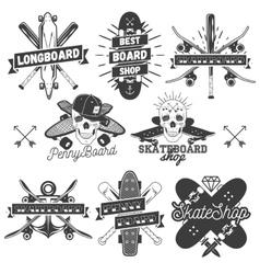 set of monochrome skateboard longboard vector image vector image
