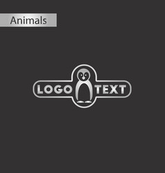 black and white style icon penguin logo vector image vector image